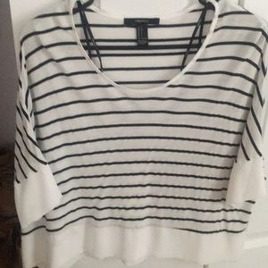 Short sleeve white and black striped blouse